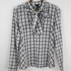 NWOT. Tie-Neck Plaid Ruffle Front Blouse. Medium.